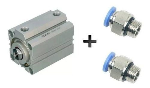 Cilindro Pneumático Compacto 20 X 25 Mm Com Conexões 6 Mm