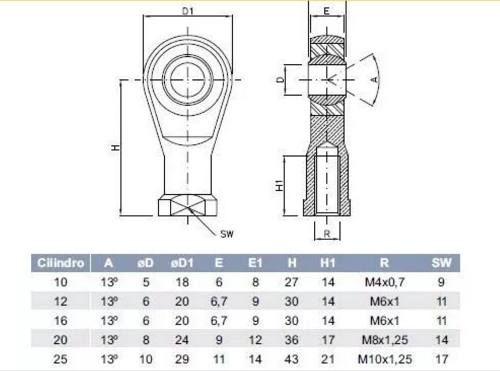 Ponteira Rotular Para Cilindro Mini Iso Rosca M4 X 0.7