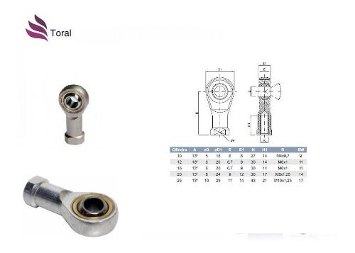 8 Terminal Ponteira Rotular Para Cilindro Pneumático M8x1,25