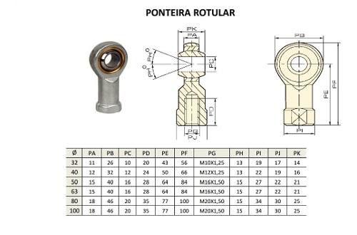 Ponteira Rotular Para Cilindro 32mm Rosca M10 X 1,25