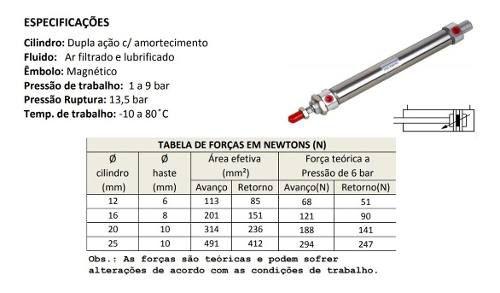 Cilindro Pneumático Mini Iso Diâmetro 25x25 Curso Dupla Ação