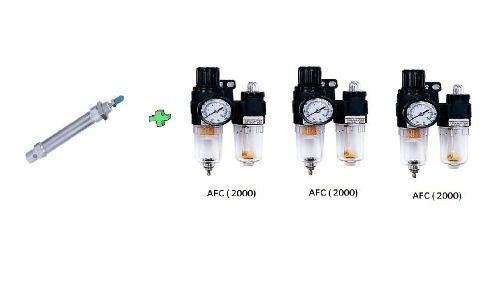 Cilindro Mini Iso 25x100 E Kit 3 Lubrifil Rosca 1/4