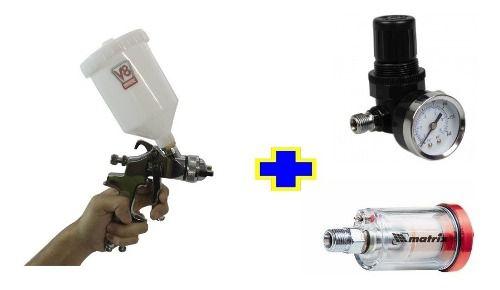 Pistola Hvlp8 1.4 V8 + Regulador De Pressão + Mini Filtro