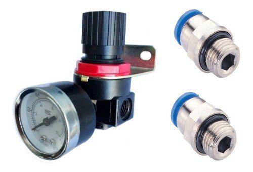 Regulador De Pressão De Ar Compressor 1/4+2 Conexão 1/4 X 6