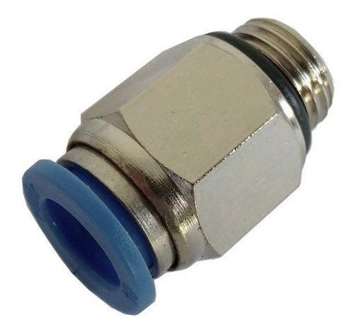 Kit Com 10 Conexão Pneumática Reta Macho Rosca 1/4x Tubo 8mm