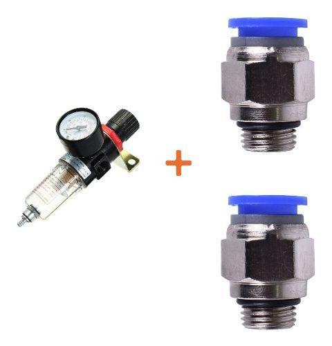 Filtro Regulador De Pressão 1/4 E 2 Conexão Reta 1/4 X 6 Mm