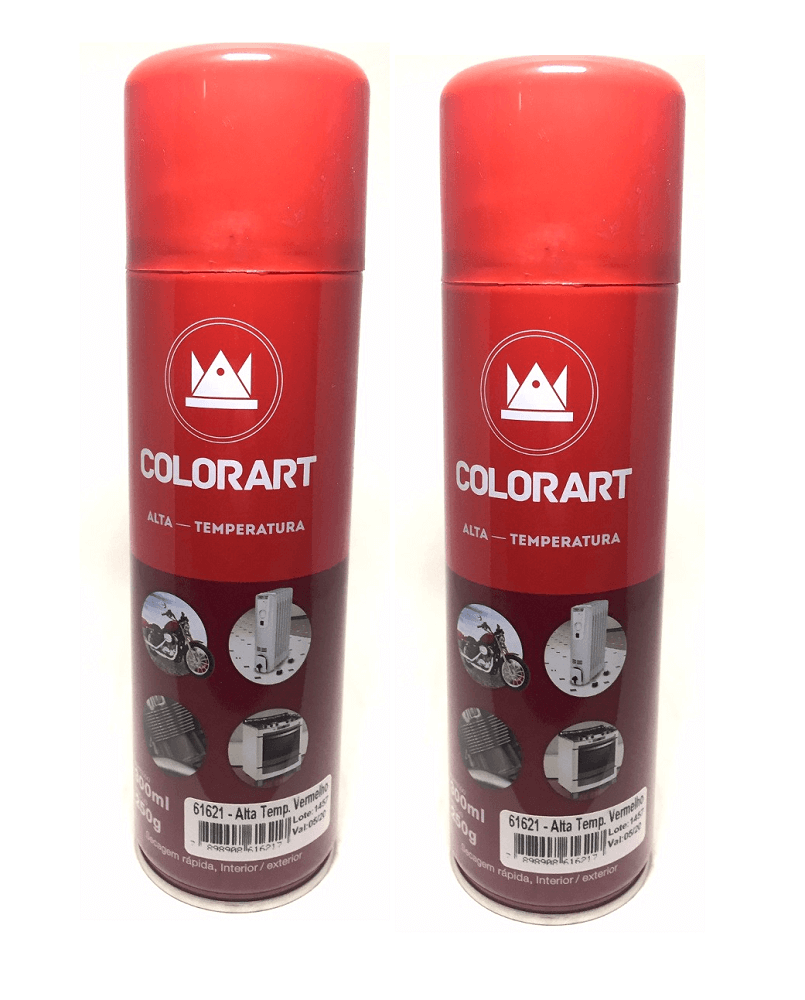 2 Latas Spray Alta Temperatura Colorart Vermelho Até 600 Graus