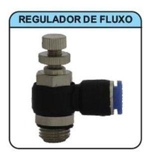 Conexão Pneumática Regulador De Fluxo M5 X Tubo 6 Mm