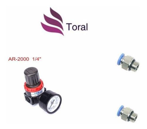 Regulador De Pressão Ar-2000 1/4 + 2 Conexões Rápidas 1/4x10