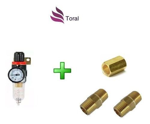Filtro Regulador De Pressão C/manômetro Rosca 1/4 C/conexões