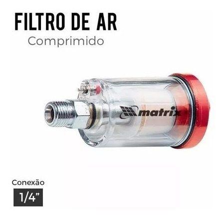 03 Mini Filtro De Ar Para Pistola De Pintura Rosca 1/4 Mtx