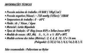 Kit 12 Conexões Pneumáticas Instantâneas Rosca 1/4 Bsp X 8mm