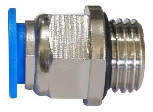 Kit 10 Conexões Pneumáticas Instantâneas Rosca 1/4 Bsp X 6mm