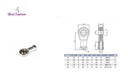 Terminal Rotular Esferico Ponteira Rosca Femea M8 X 1.25