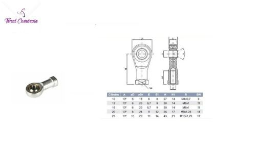 Kit 01 Ponteira Rotular M6 X 1+ 01 Ponteira Rotular M8 X1,25