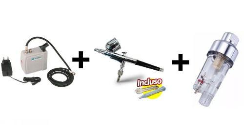 Kit Aerografia Mp-1001 Wimpel + Comp-3 Wimpel + Mini Filtro