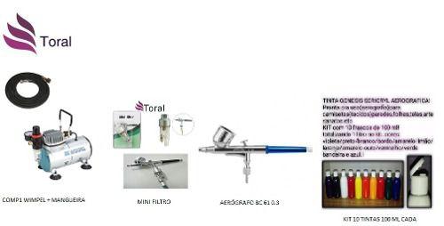 Kit Aerografia Completo Comp1+aerógrafo0.3+mini Filtro+tinta