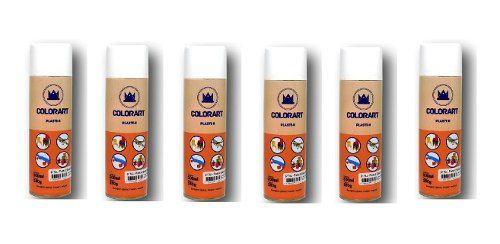 Kit Com 06 Spray Branco Fosco Plasti K Para Plastico