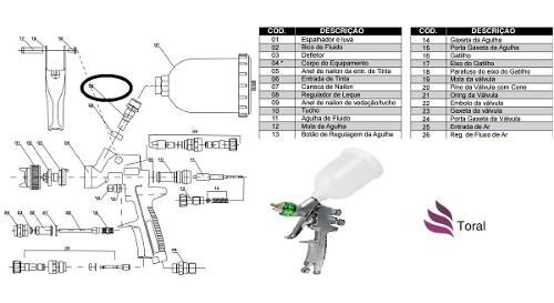 Entrada De Tinta (peça N- 06) Reparo Pistola Mp105 Wimpel
