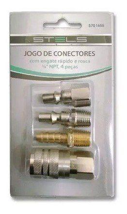 Jogo De Engate Rapido 1/4 Npt 4 Pçs Stels