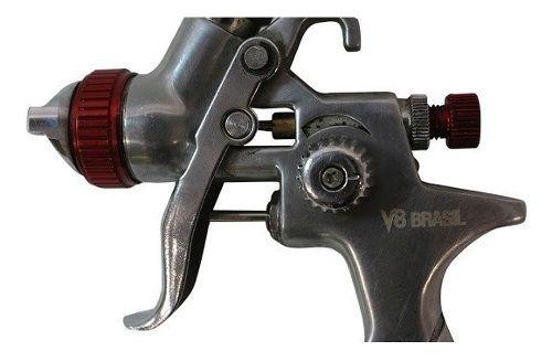 Kit Pistola De Pintura Hvlp V8 1.4 600ml+ Pistola 0.8 125 Ml