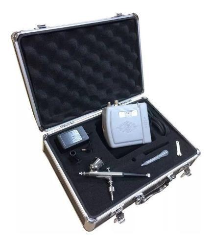 Kit Aerografia Completo Com Maleta Com Aerógrafo Bico 0.3 Mm