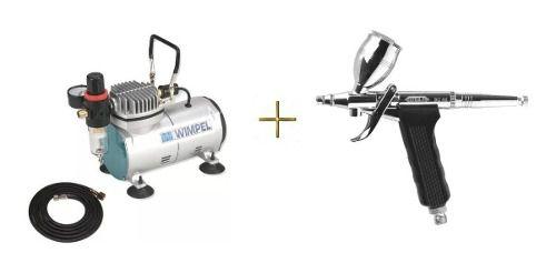 Compressor Bivolt Comp1 E Aerógrafo Steula Bc66 Bico 0.3 Mm