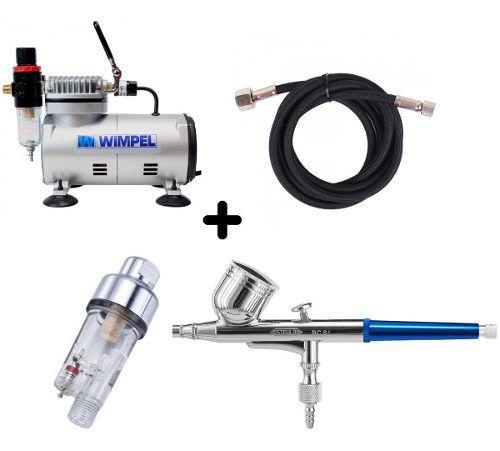 Aerógrafo Steula Bc610.2+compressor Wimpel Comp1+mini Filtro