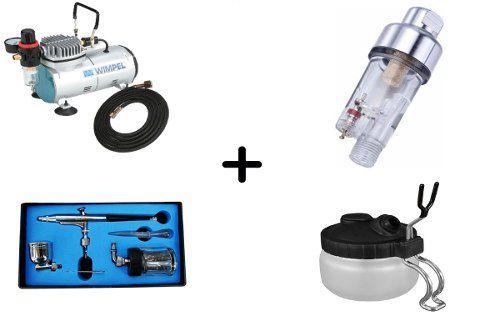 Compressor Comp1+aerógrafomp1003+mini Filtro+pote De Limpeza