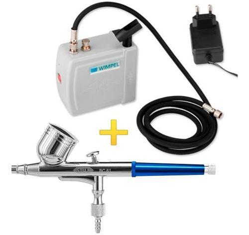 Kit Aerografia Completo Wimpel Mini Compressor+aerógrafo 0.3