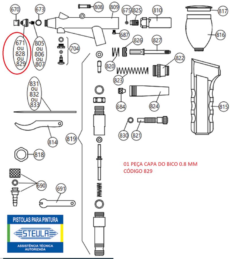 Capa do Bico 0.8 MM Para Aerógrafo STEULA BC66 Código 829