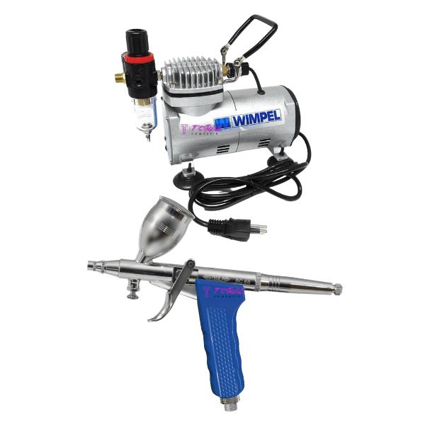 Kit Aerografia completo Compressor WIMPEL COMP1 e Aerógrafo STEULA BC66 Bico 0.3 mm
