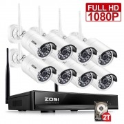 Zosi 8Ch Cctv  Wireless 1080P Hd Nvr 8Pcs 2.0Mp Ir Outdoor