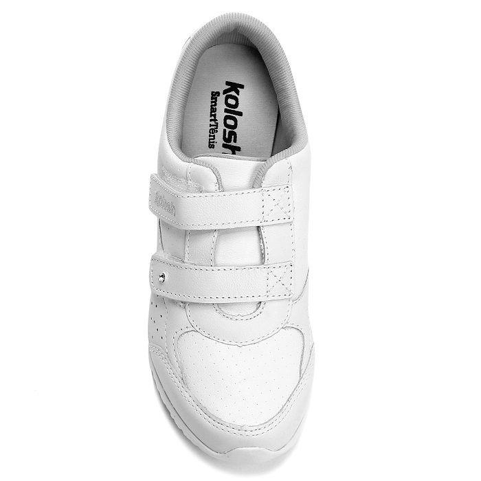 f695337f14 Tênis Couro Kolosh Anabela Velcros Feminino - via branco