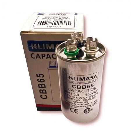 CAPACITOR PERMANENTE DUPLO 20+1.5UF - 450VAC