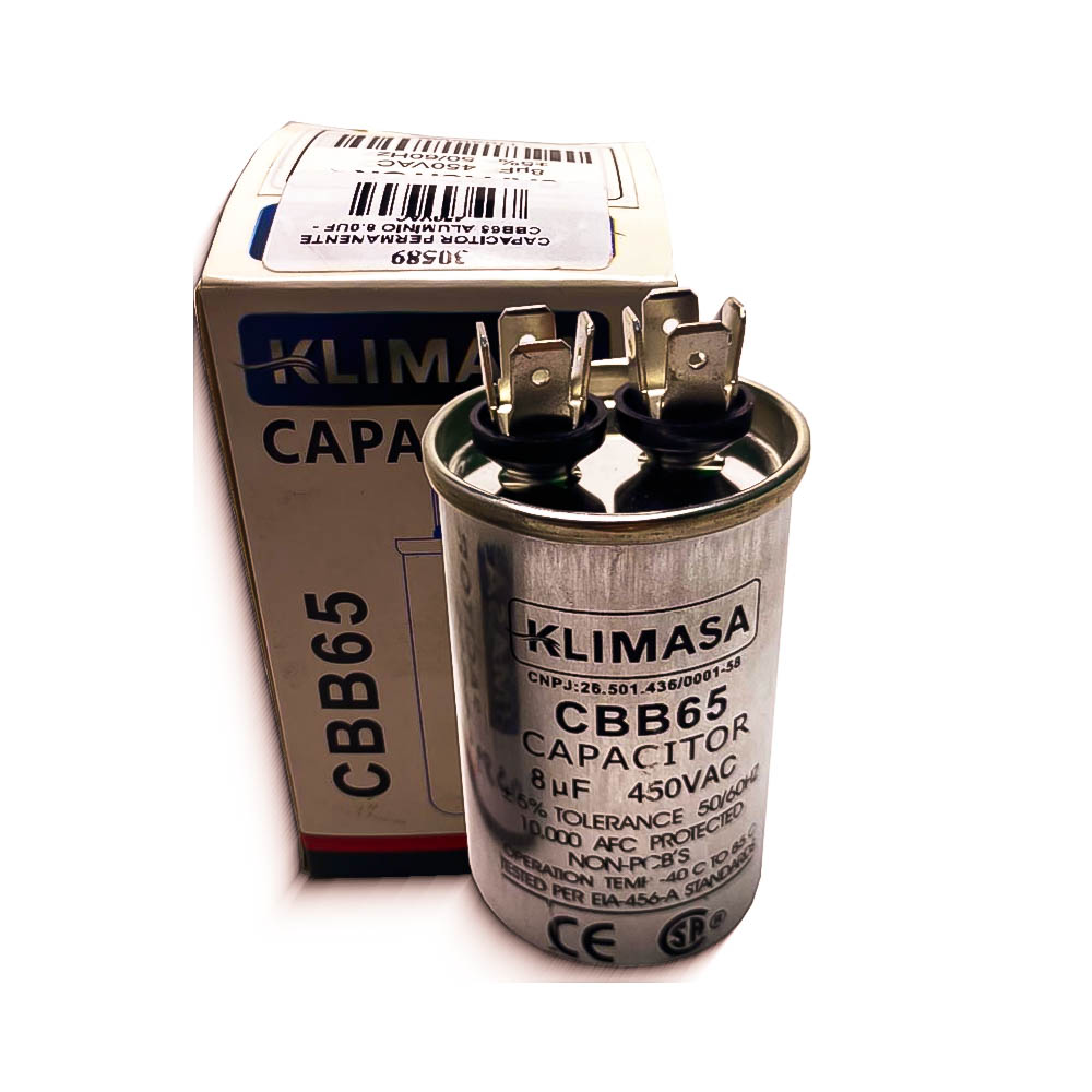 CAPACITOR PERMANENTE CBB65 8.0UF - 450VAC