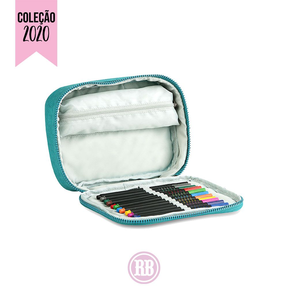 Estojo 100 Pens Glitter Rebecca Bonbon Cor:  Verde Água | Preto | Rosa | Roxo | RB2085