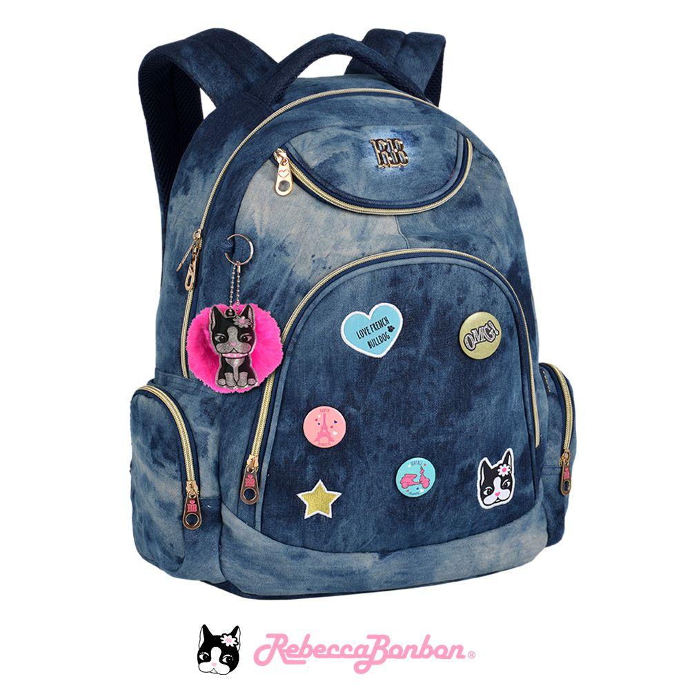 Mochila Laptop Rebecca Bonbon  Bottons | Jeans | RB9265