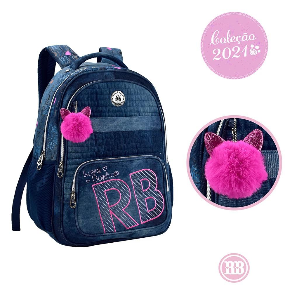 Mochila Jeans com Pompom Rebecca Bonbon RB3200