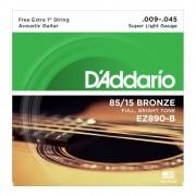Encordoamento D'Addario Violão Aço EZ890 Bronze 0.09