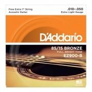 Encordoamento D'Addario Violão Aço EZ900 Bronze 0.10
