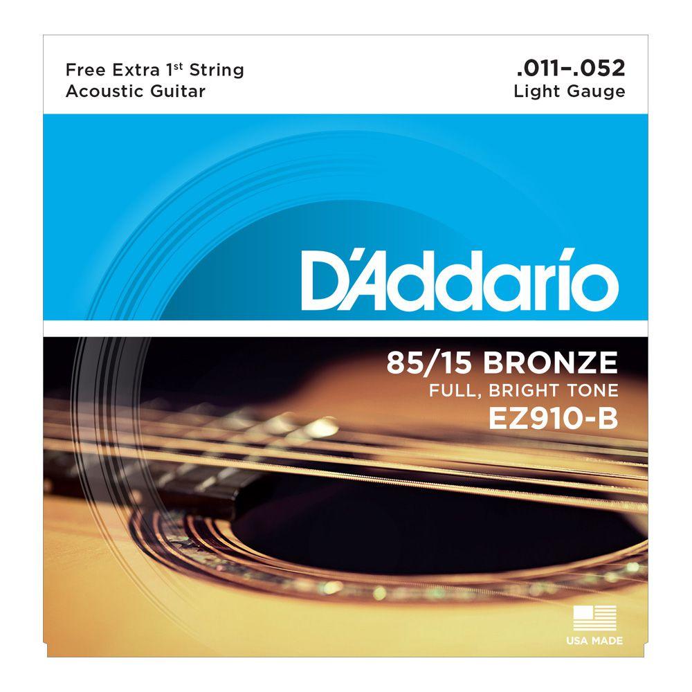 Encordoamento D'Addario Violão Aço EZ910 Bronze 0.11
