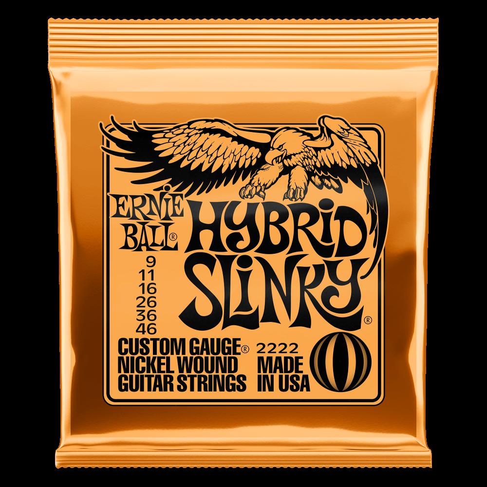 Encordoamento  Ernie Ball 2222 Guitarra Hybrid Slinky 0.09-0.46