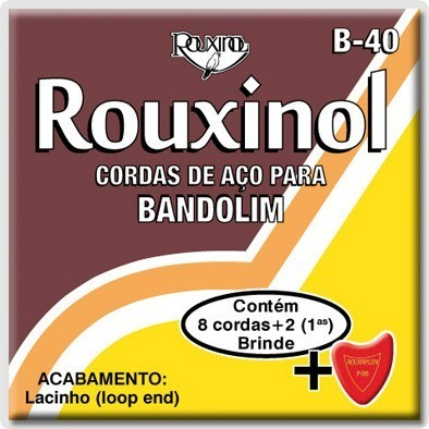 Encordoamento Rouxinol Bandolim B40 (Brinde 2x 1ª's e 1 palheta)