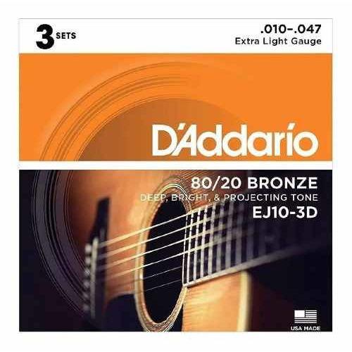 Kit c/ 3 encordoamentos D'Addario violão aço EJ10-3D 0.10-0.50