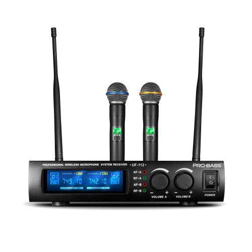Microfone S/ Fio Duplo Pro Bass UF 112