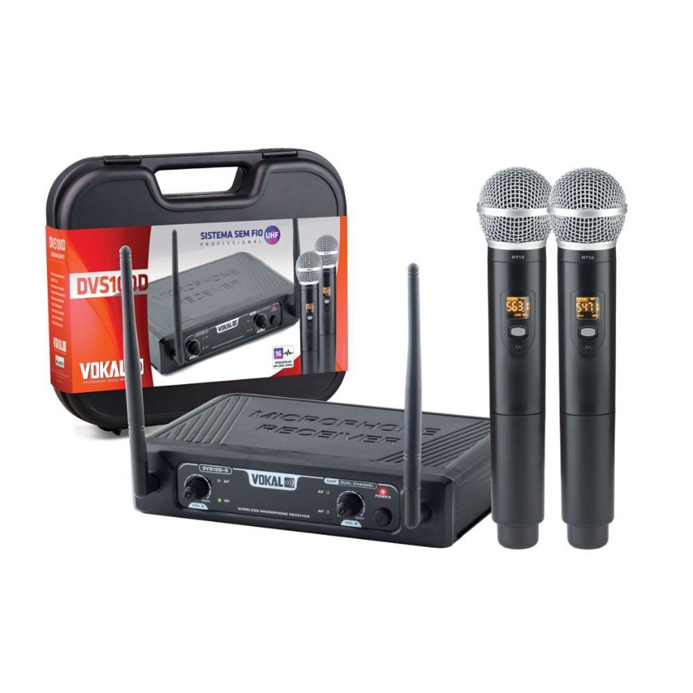 Microfone Vokal DVS 100D Duplo Sem Fio