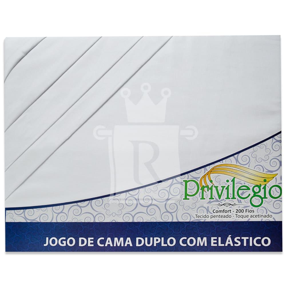 Jogo De Cama Casal Duplo Com Elástico Percal 200 Fios 4 Peças 100 % Algodão PRIVILÉGIO