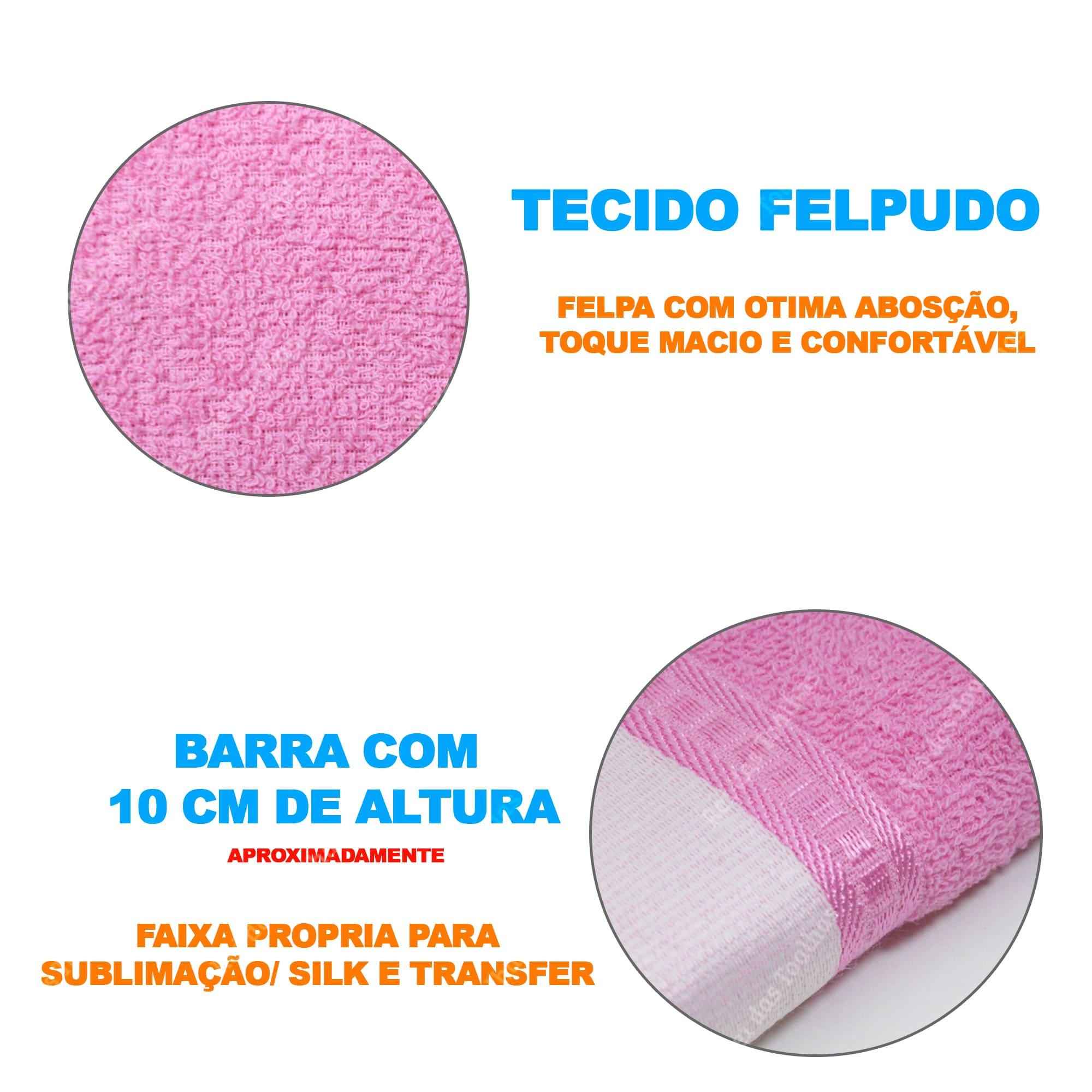 Kit Atacado Toalha De Banho Felpuda Linha Luxo Com Barra Para Sublimação 70X130cm BRUTEXTIL