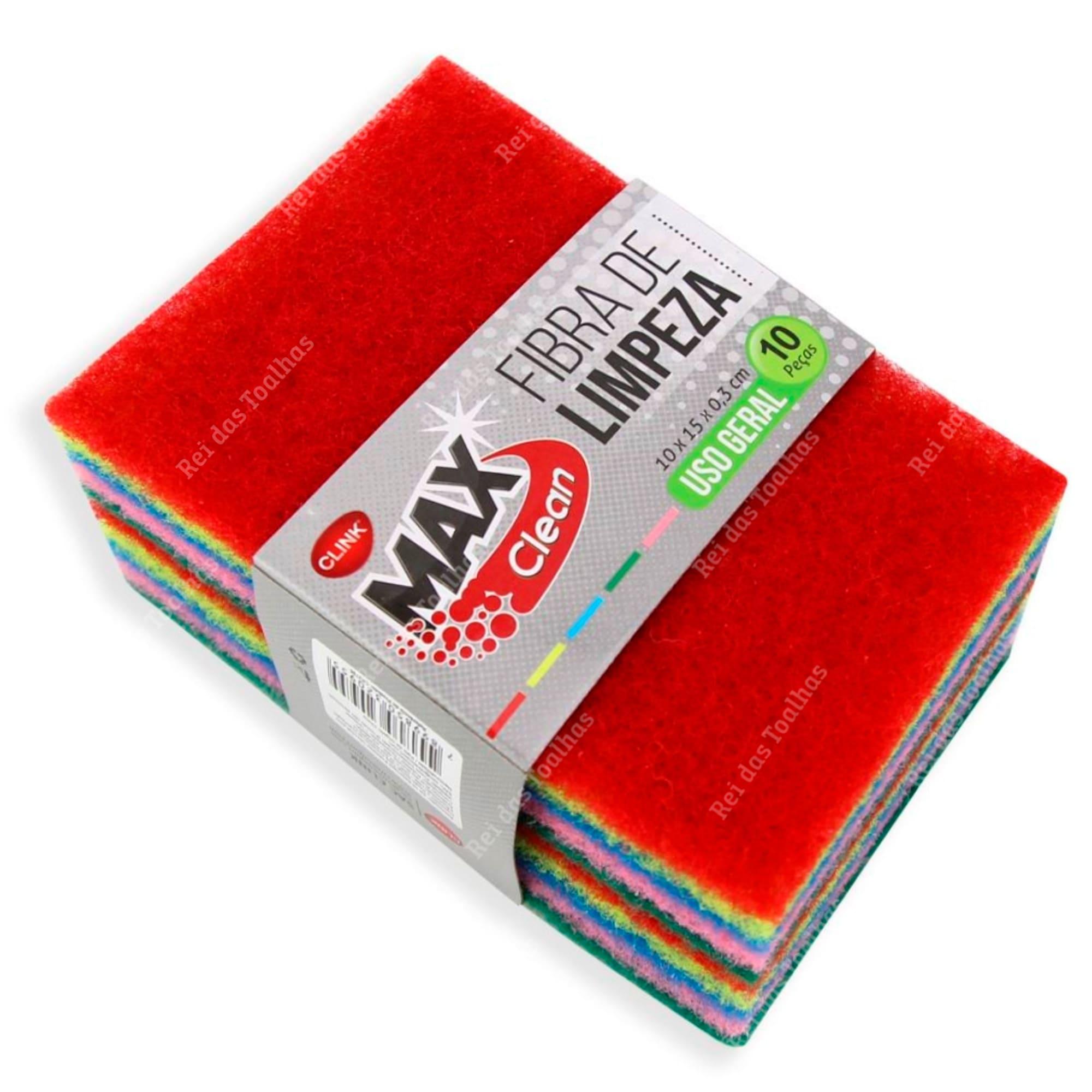 Kit Com 10 Fibras de Limpeza Poliéster Max Clean 10cm x 15cm X 03 cm CLINK